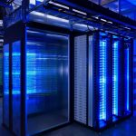 Server Room with blue lighting